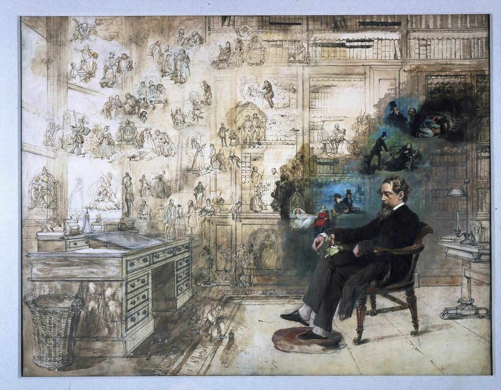 "R.W. Buss' unfinished watercolor, ""Dickens's Dream."""