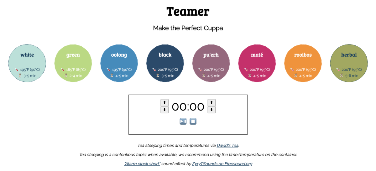 View of the Teamer tea-timing app