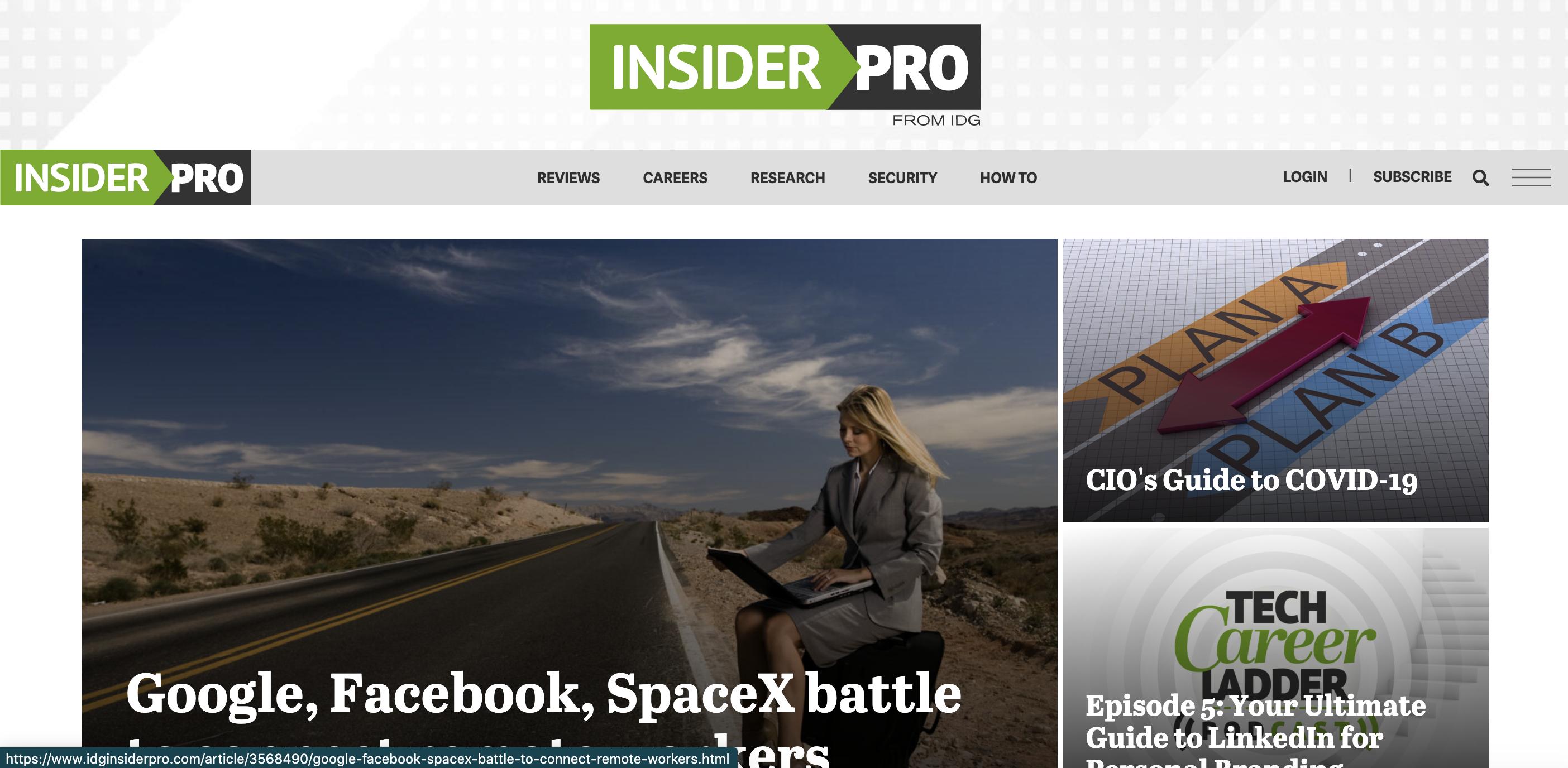 Screenshot of the top of IDG's InsiderPro homepage