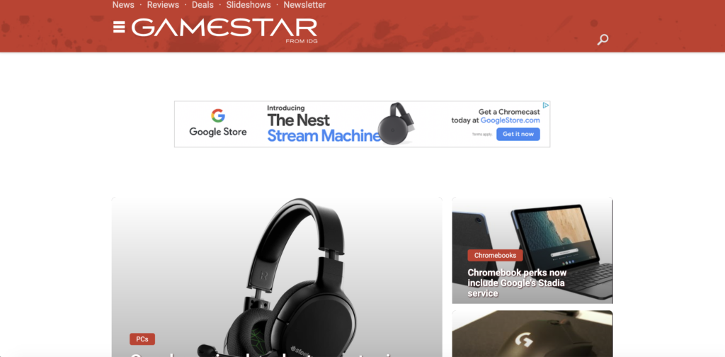 The top of the GameStar homepage, showing the hero and an ad unit.